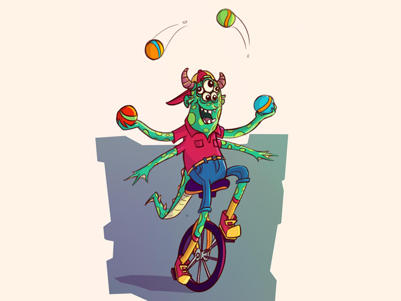 Monster 1 unicycle juggle circus monsters