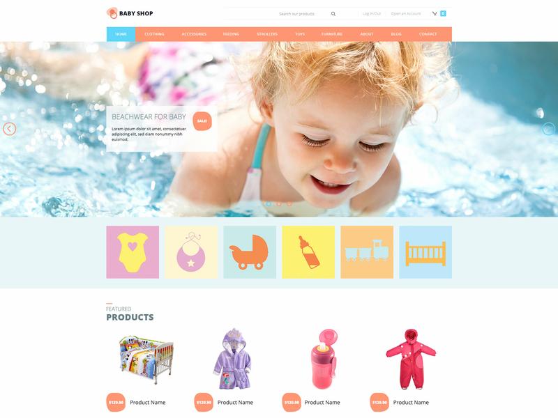 Hot Baby Shop kids store baby clothes virtuemart online shop ecommerce responsive design responsive joomla template template joomla