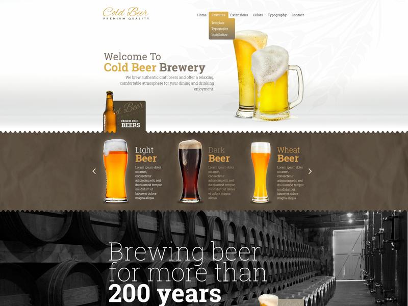 Beer drink food and drink beer bottle beer art beer website beer branding responsive design joomla template template joomla responsive