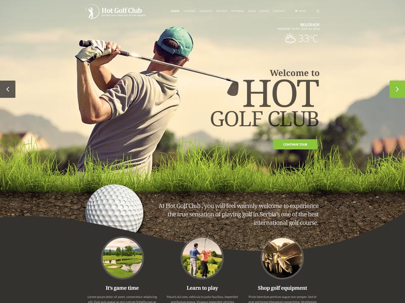 Hot Golf sport app golf website golf online shop ecommerce responsive design joomla template template joomla responsive