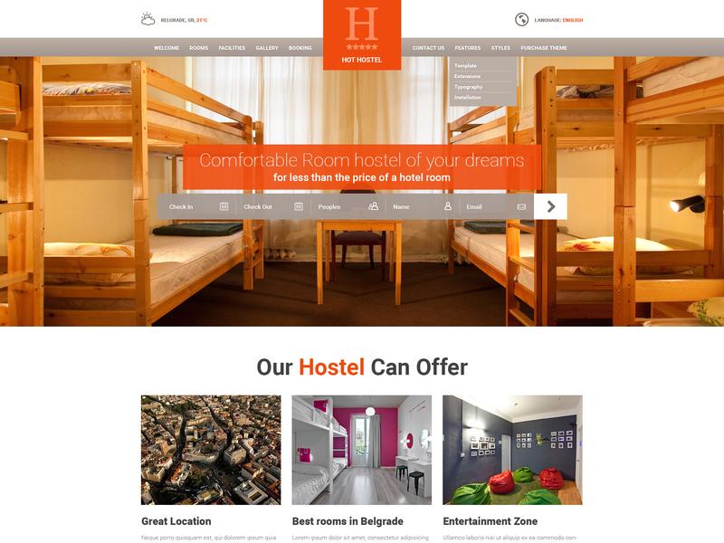 Hot Hostel hotel app hotel hotel branding hotel booking hotel design hospitality hostel website hostel responsive design joomla template template joomla responsive