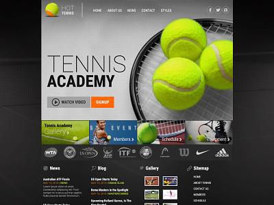 Hot Tennis tennis sports branding sports design responsive design joomla template template joomla responsive