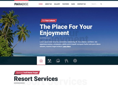 Hot Paradise summertime summer beach resort hotel tourism travel agency travel responsive design joomla template template joomla responsive