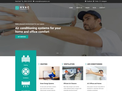 HVAC Template air conditioning ventilation heating hvac business website responsive design joomla template template joomla responsive