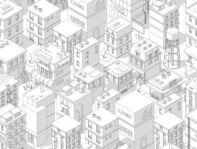 Buildings city seamless pattern.
