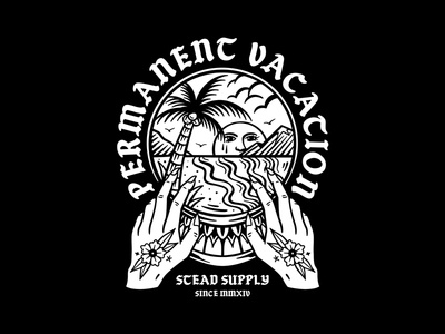Vacation traditional tattoo art graphic design tattoo clothing design t-shirt apparel illustration