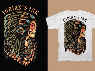 Trad Indian Chief Girl chief indian tattoo skull clothing design t-shirt apparel illustration