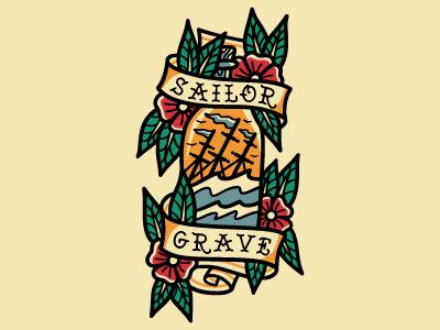 Sailor Grave rose illustration tattoo traditional art apparel clothing t-shirt