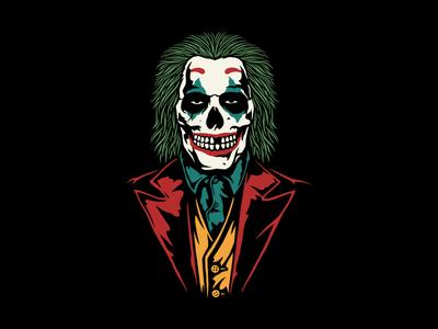 Happy Skull halloween comic art vilain fantasy fanart joker tattoo skull design illustration