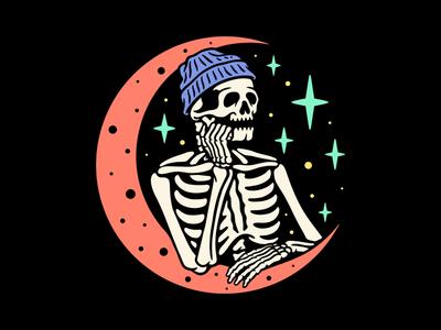 Waiting for the weekend 2d branding logo design studio tattoo clothing apparel t-shirt skull design illustration