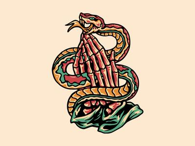 Dead Before Pray skeleton snake 2d branding tattoo skull clothing design t-shirt apparel illustration