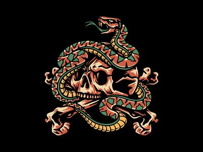 Snake & Skull logo design studio snake 2d branding tattoo skull clothing design t-shirt apparel illustration