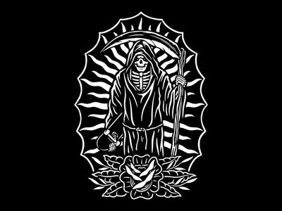 Grim Skater creative graphic design reaper branding tattoo skull clothing design t-shirt apparel illustration