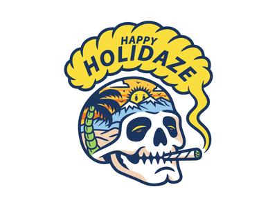 Holidaze branding 2d logo tattoo skull clothing design t-shirt apparel illustration