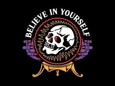 Believe 2d branding creative skull tattoo clothing design t-shirt apparel illustration