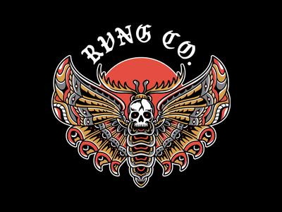 Death Moth graphic design logo branding skull tattoo clothing design t-shirt apparel illustration