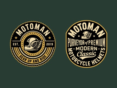Motoman Logo identity vintage badge design apparel motorcycle design typography vector branding logo