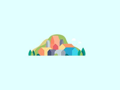 The Hills colorfull countryside nature illustration hillside nature hills flat vector design illustration