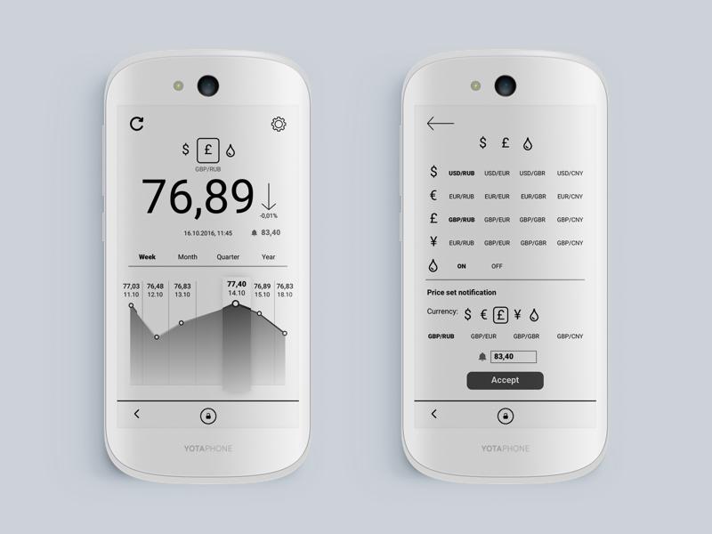 YotaPhone financial widget e-link bw app black and white banking finance yotaphone