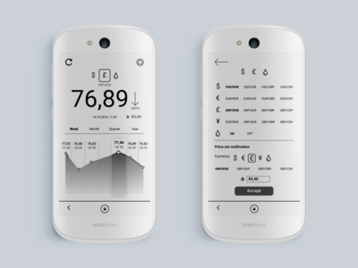 YotaPhone financial widget e-link bw app black and white banking finance yotaphone