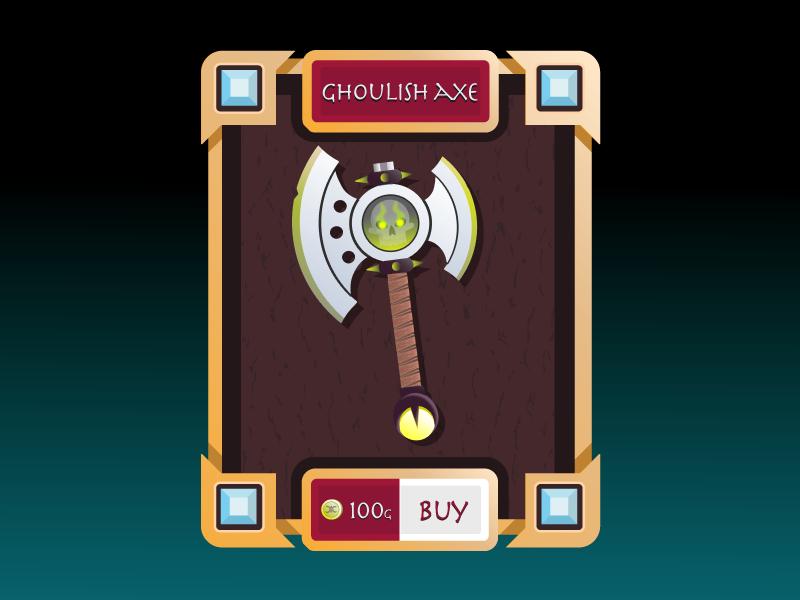 Ghoulish Axe axes axe weapon shop fantasy ghost ux ui magic game design vector illustraiton