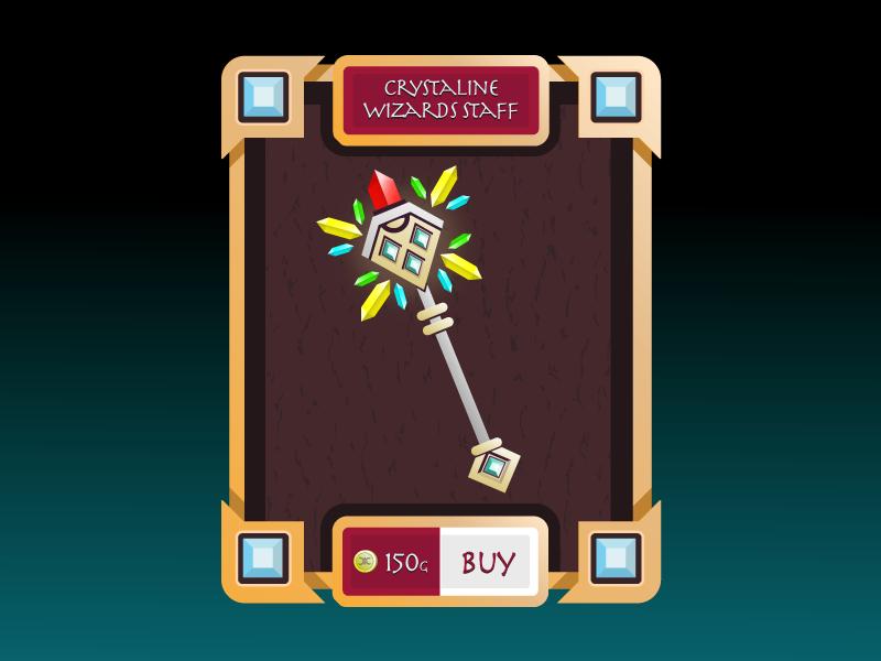 Wizards Staff shop wizard staff game ui design vector illustraiton