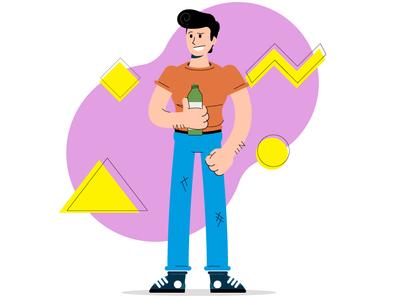 Bro Time! adobe ilustrator wyzowl memphis design design vector illustraiton