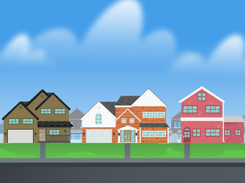 Suburban Street street house home illustration wyzowl design vector illustraiton