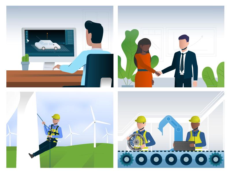 Unused Business Infographic. manufacturing green energy office wyzowl illustration design vector illustraiton