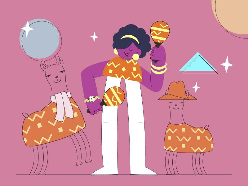 Jiveing Rebound lama party fiesta character @diana stoyanova design vector illustraiton