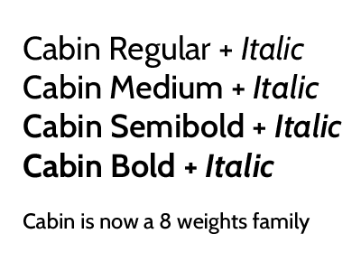 Cabin Font is now a little family cabin font typeface typography webfont free sans serif humanist