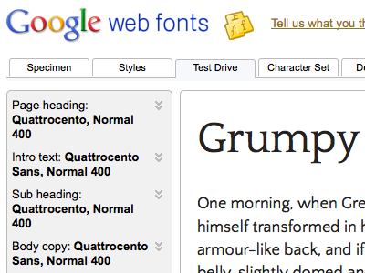 Previewing Quattrocento Family in Google Webfonts v2 font webfont google v2 free typography typeface classic roman serif sans sans-serif quattrocento quattrocento sans google webfonts webfonts