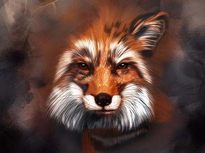 Digita fox digital art fox realism