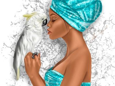 gril with a parrot effects vector flat 2d artwork design illustration digitalart procreate painting love fun girl parrot