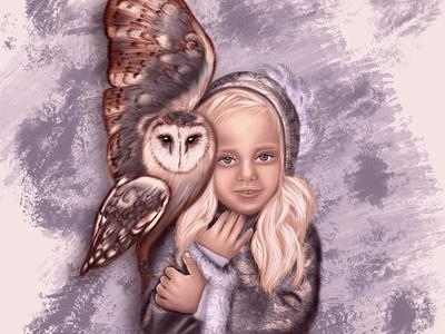 girl with owl love animal owl character girl illustration person персонаж artwork design illustration portrait