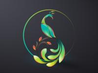 peacock abstract logo