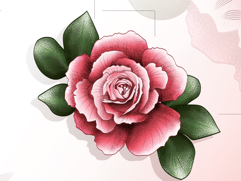Roses floral print icon effects banner logo graphics flat 2d floral print illustration abstract vector artwork roses