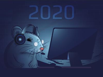 Cover for the calendar 2020 calendar design illustration artwork print mouse 2020