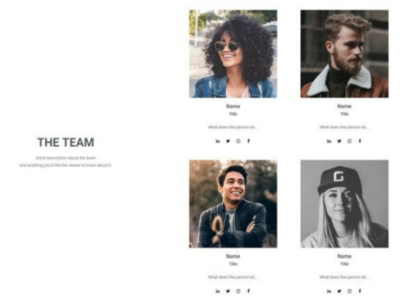 "Freebie: Elementor Template ""The Team"" freebie elementor web design"