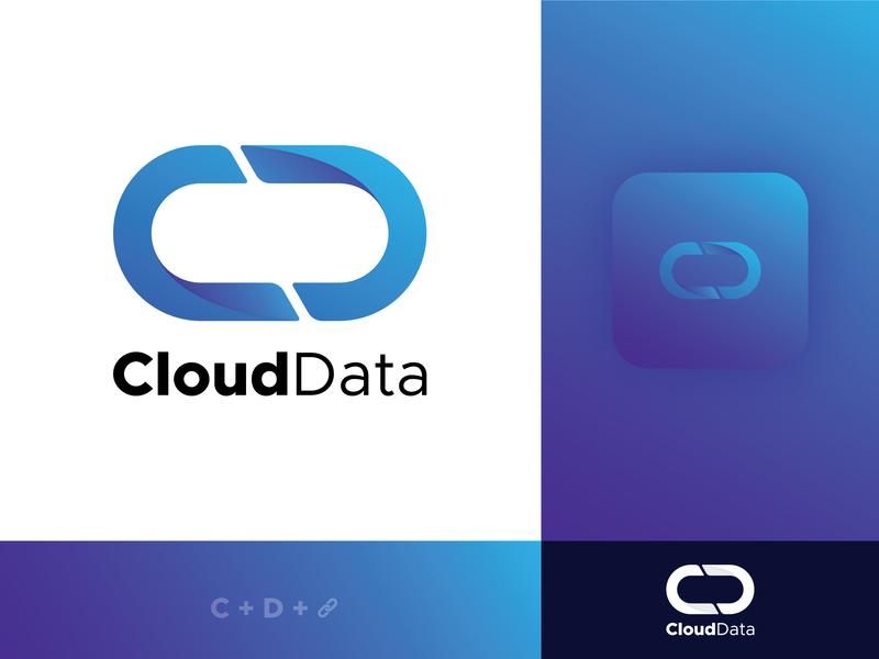 CloudData Logo - Cloud Storage Solution drive cloud app concept monogram logos cloud logo storage app cloud storage