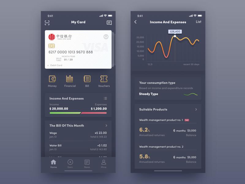 Finance app visa card app money financial app