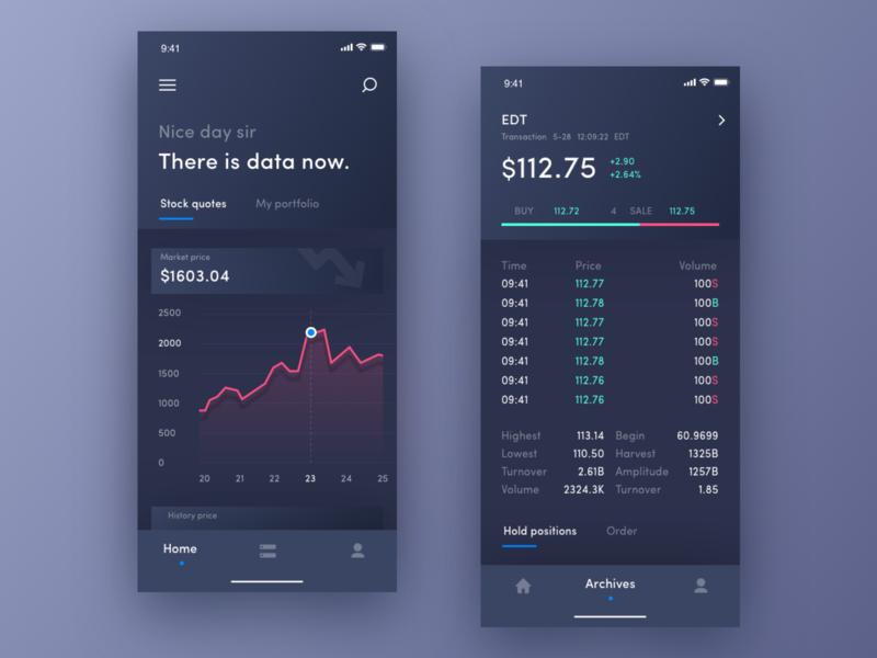 Stock Operation App ui illustration 设计 app design stocks data visualization