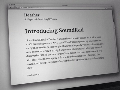 Heather - A Hyperminimal Jekyll Theme web blog theme typography merriweather jekyll