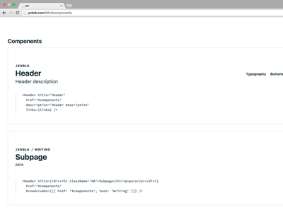 Blk component-based style guide npm react header style guide