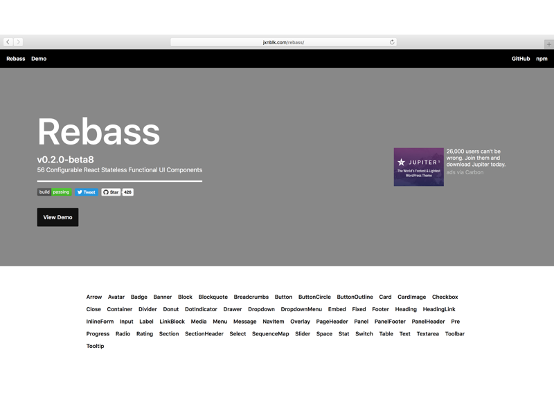 Rebass 0 2 by Brent Jackson on Dribbble