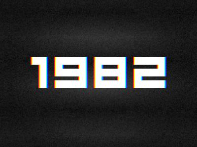 1982 typography numerals geometric grid screen 8-bit pixel