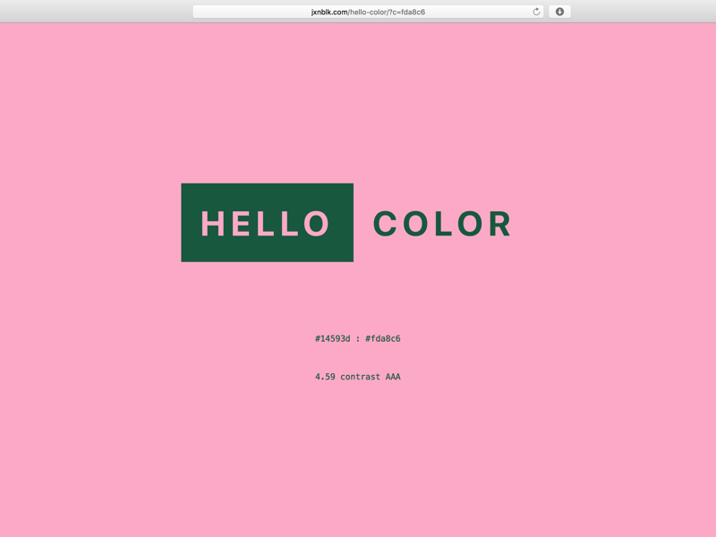 Hello Pink web website app color