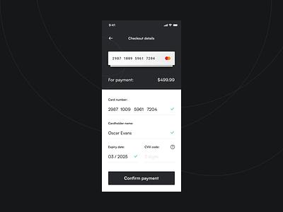 Payment checkout | Daily UI 002 daily 100 dailyui 002 daily ui 002 dailyui daily 100 challenge app design mobile app app ui ux ui