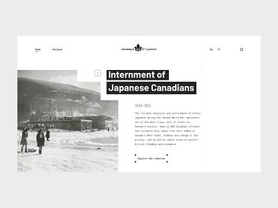 Landscapes of Injustice canada history webdesign adobe xd