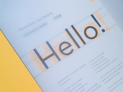Hello! x2 neutraface shocking yellow french paper co perfect binding bookbinding vellum helvetica christian schwartz